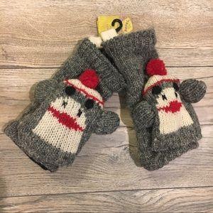 Accessories - Hand knit Grey wool monkey mittens